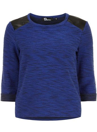 The Styling Up stylists recommend: Dorothy Perkins: Cobalt PU panel black shoulder sweat top