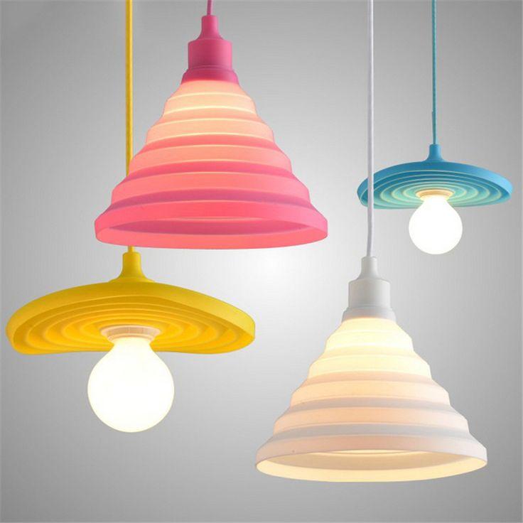Moderna luz colgante colorido de silicona de colores diy dormitorio de la lámpara colgante lámpara colgante restaurante home lámparas lamparas
