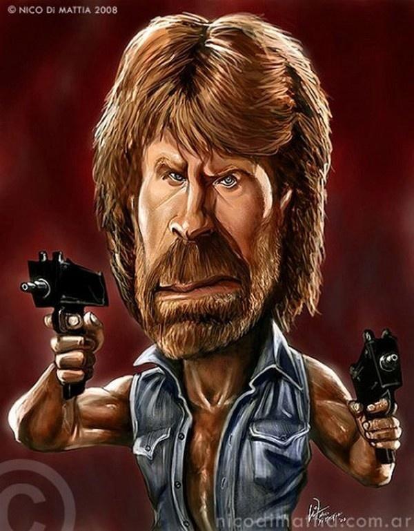 caricatures of famous Actors - Chuck Norris