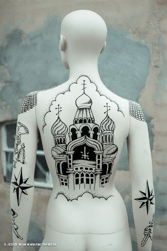 Eastern Prison Tattoos on Mannequin -- Click image too see more photos of this project.
