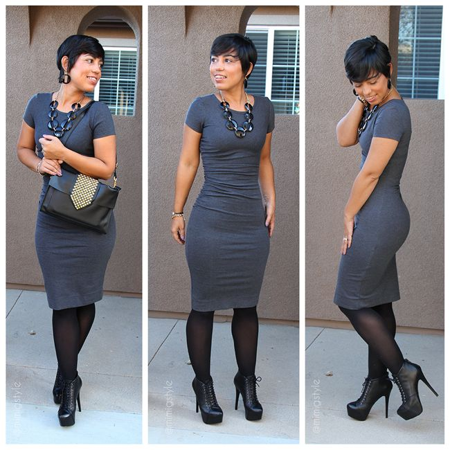Mimi's Fitted Gray dress & Black Heels sophisticated look for work & the after work happy hour