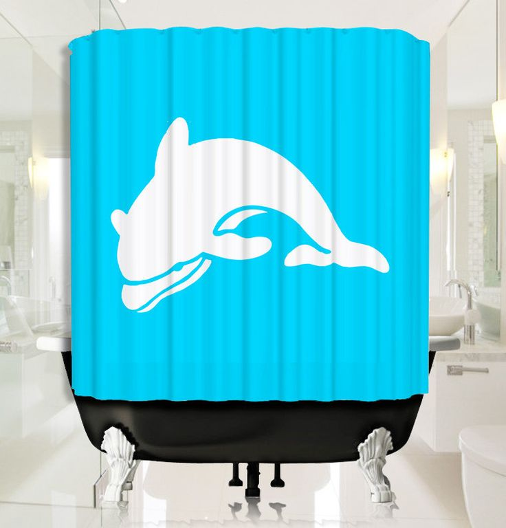 Baby Blue with Cute Dolphin Shower Curtain