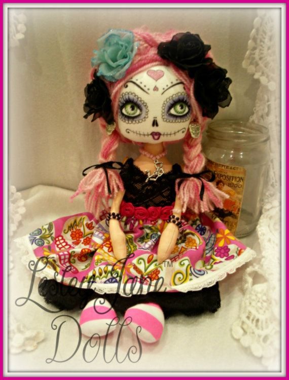 Day of the Dead Collectable Cloth Doll by Lesley Jane Dolls