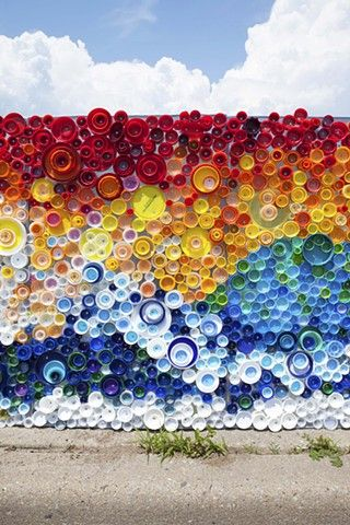 """When the Beach Met the Bay"" Created by Lisa Be Sponsored by Project Vortex Approx. 440 sq. ft. Approx. 25,000 plastic caps, galvanized sheet metal, rivets Long Beach, NY  Photo: gormanstudio.com   #plastic #bottle #caps #recycled #mural #publicart #streetart #upcycled #eco"