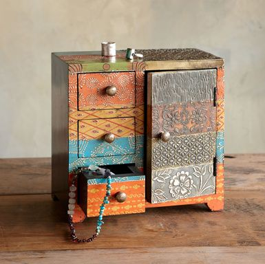 upcycled old wooden jewelry box