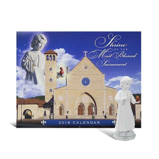 "2018 SHRINE CALENDAR & EL DIVINO STATUE SET SAVE 20% when you purchase these two EWTN favorties together! The 2018 calendar from the Shrine of the Most Blessed Sacrament is extra special this year because it is full of beautiful pictures commemorating the life of Mother Mary Angelica! (#2018C). The statue of the Divine Child is modeled after the statue Mother Angelica had made for the Piazza at the Shrine - 4"" (#90243).   Now: $17.60 Item #: 90243K"