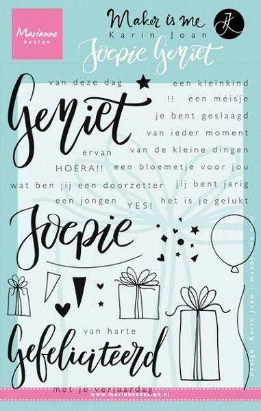 Marianne Design - Clearstamp - Karin Joan - Geniet - Joepie