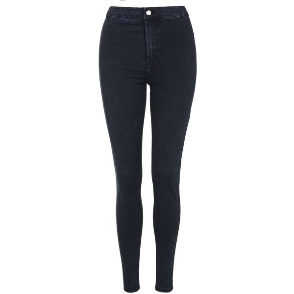 TopShop Moto Blue Black Holding-Power Joni Jeans ($36) ❤ liked on Polyvore featuring jeans, pants, bottoms, calças, blue black, stretchy jeans, high-waisted jeans, super stretchy skinny jeans, zipper skinny jeans and stretch skinny jeans