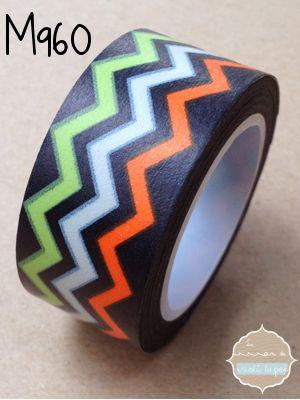 Washi Tape Negro chevron colores