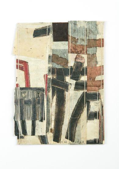 Matthew Harris :: 'Shide Fragment' VI, 2012 29 x 21 cm; 48 x 40 cm framed mixed media on linen bound Japanese paper