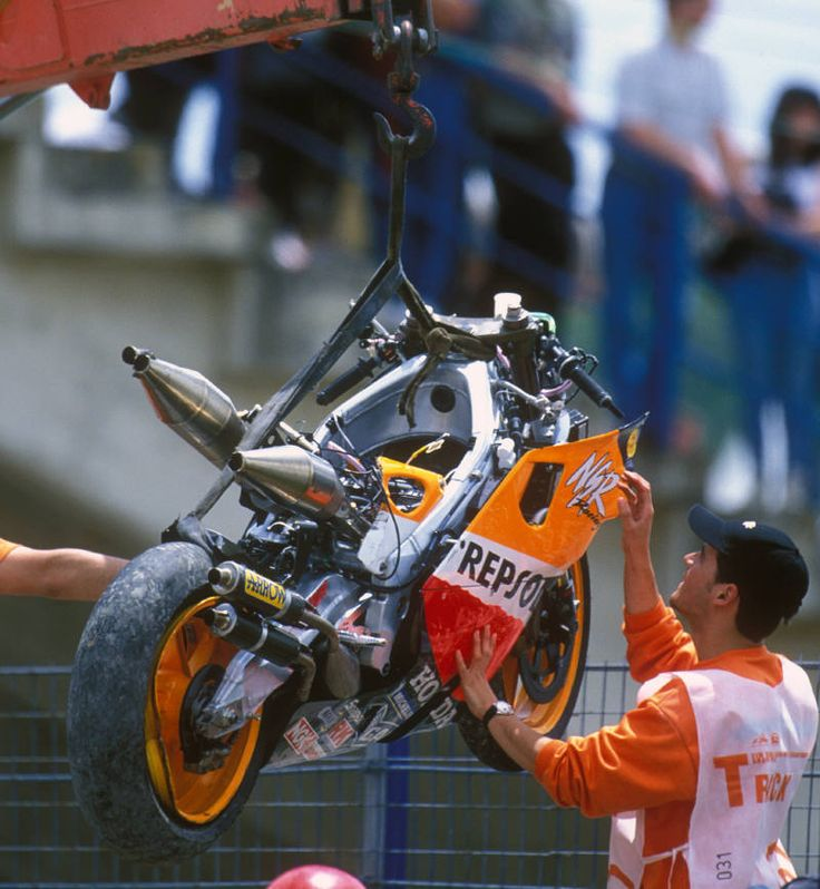 Mick Doohan`s Repsol Honda after his career-ending accident at the 1999 Spanish Grand Prix.