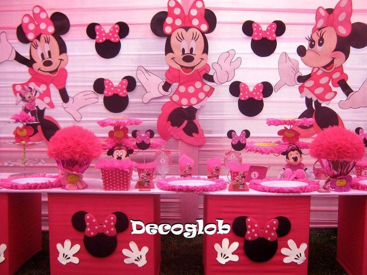 Decoracion Minnie Mouse ~ decoracion de cumplea?os con telas de minnie  Buscar con Google More