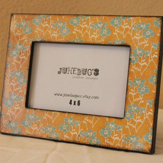 4x6 Wood Photo Frame Decoupage Yellow Blue Flowers by JunebugsCC, $22.00