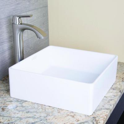 $116 Vigo Bavaro Above Counter Square Composite Vessel Sink in White-VG04001 - The Home Depot