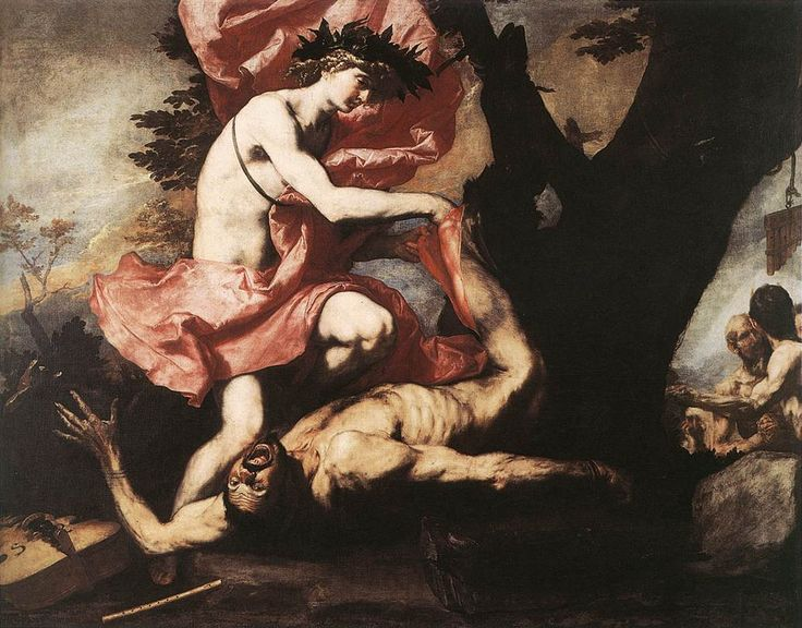 Jusepe di Ribera, Apollo Flaying Marsyas, 1637, 202 x 255 cm, oil on canvas (Musée des Beaux-Arts, Brussels) 루카 조르다노/아폴론과 마르시아스/1670년경/나폴리 카포디몬테 아폴론과 마르시아스의 연주 정쟁, 무사시의 판정으로 사티로스인 마르시아스의 살가죽을 벗기다. 아폴론 마르시아스의 오만함을 벌주다.