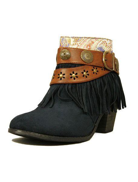 Talons hauts Blue Suede bottines femmes glands Bohème bottes courtes en cuir boucles Cow Girl bottes avec broderies