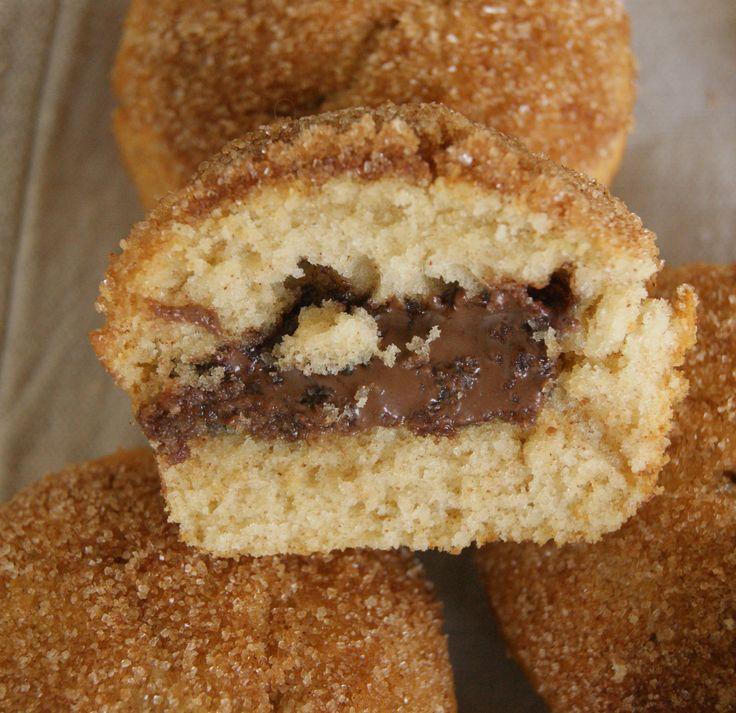 Cinnamon sugar muffins with Nutella filling.