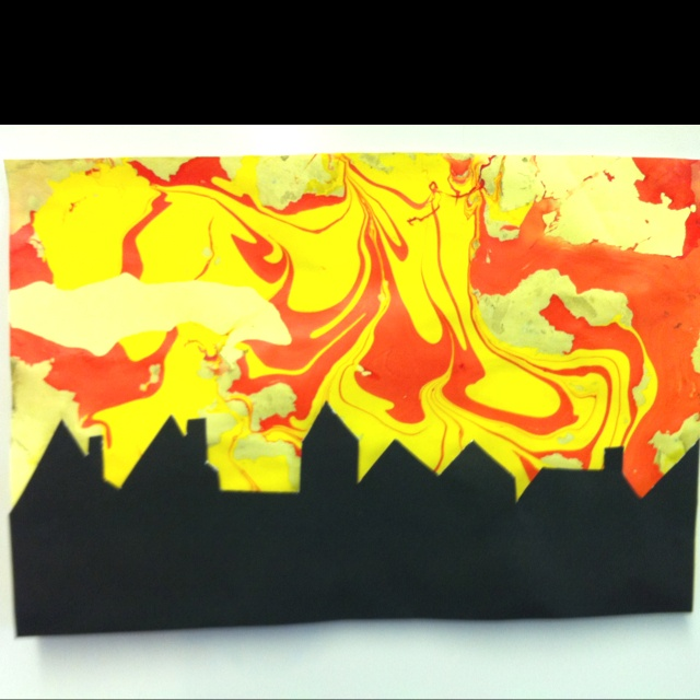 Great fire of London - simple idea. Using marbling inks to make the back ground and then draw and cut out a skyline. Great skills builder for Year 1/2. (by Sally Maddison)