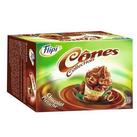 Cônes chocolat / pistache x 16