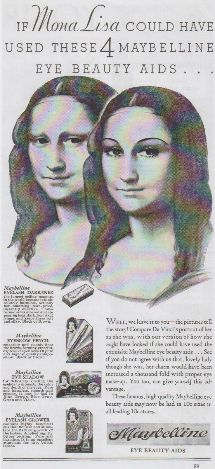 Maybelline eye makeup ad from the 1930's - trying to make women feel inadequate for generations.