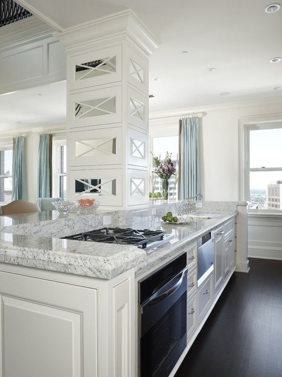Awesome Kashmir White Granite with Dark Cabinets