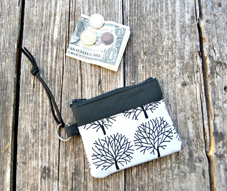 Coins Purse Pouch. Trees Forest zipper case. Keys, Cards, Change holder.  Fall travel accessories. Pretty gift for her under 20 usd by KatiaFabricStudio on Etsy