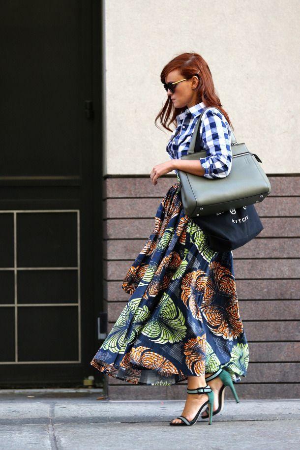 Mixed prints ~ gingham/buffalo check shirt + graphic skirt