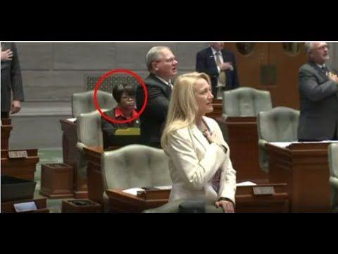 WATCH DEMOCRAT SENATOR CAUGHT SITTING DURING PLEDGE OF ALLEGIANCE!