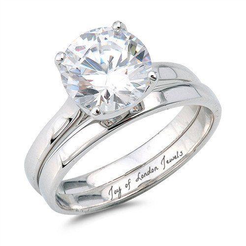 2CT Round Cut Russian Lab Diamond Bridal Set Wedding Band Ring