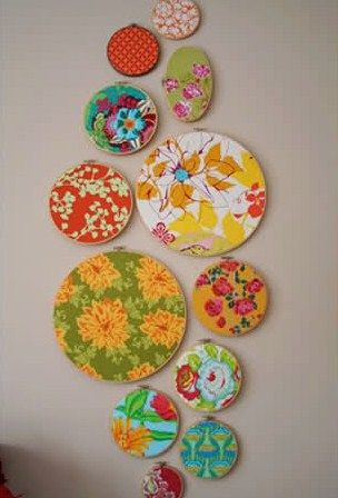 A simple decorating idea: pretty fabric stretched on embroidery hoops