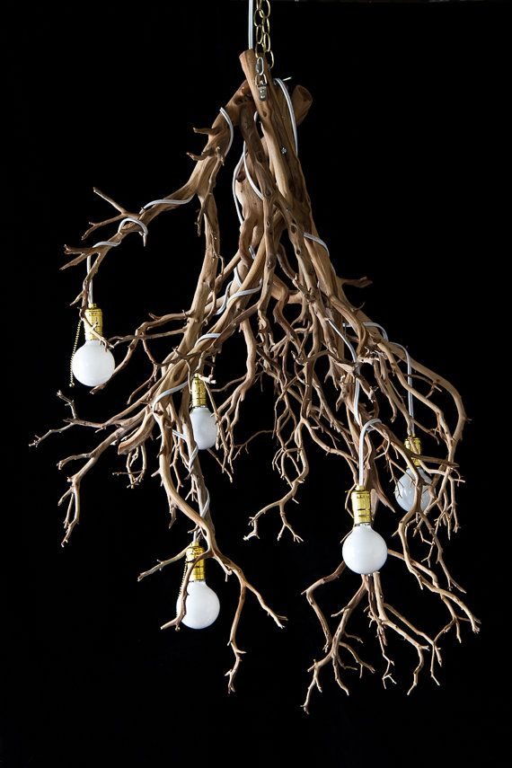 Items similar to Fey Illumination Chandelier (Natural) Wood Tree ... | fey illumination
