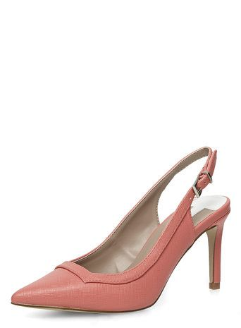 Wide Fit Coral Slingback Court Shoes
