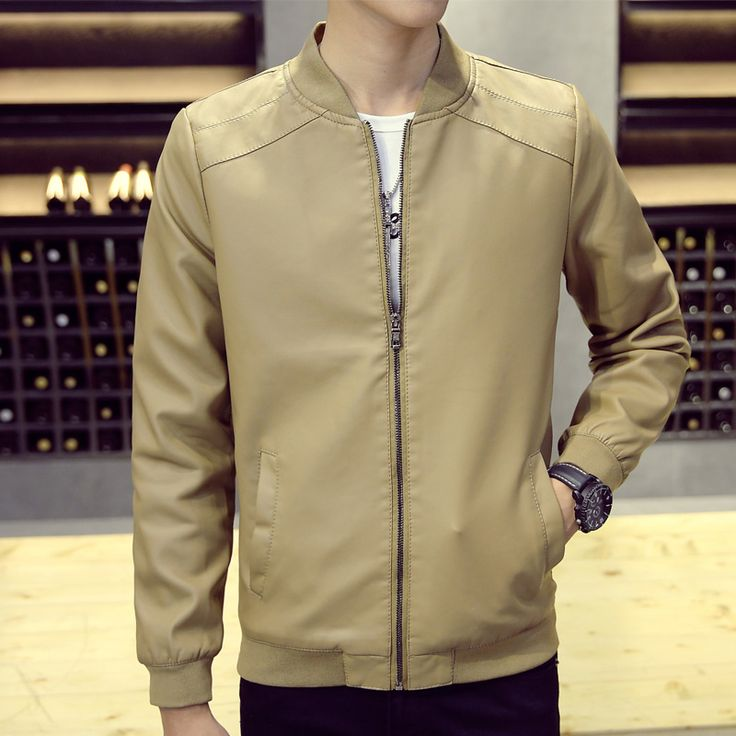 Leather Jacket 2017 Spring Slim Fitted PU Motorcycle Jacket Korean Stand Collar Mens Blue Leather Jacket Plus Size Casual Coat