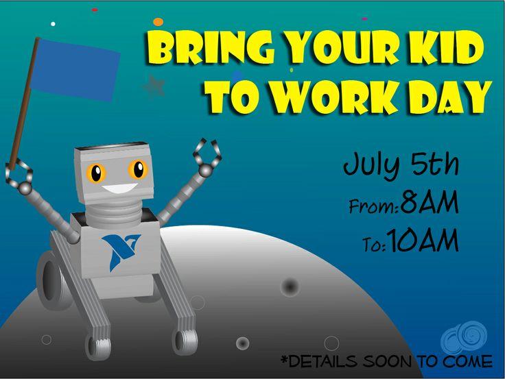 Invitación para el día de llevar hijos al trabajo.