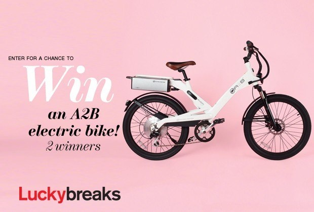 Enter here to win one of 2 A2B electric bikes––worth $2,599 each!A2B's Velociti bike is as easy to charge as a cell phone, but the results are about a bejillion times more fun: Just plug it into any standard outlet, hop on, pull down the throttle and—bam!—you're zipping around town at 20 miles per hour, no pedaling required.Offers are valid through May 13, 2013.