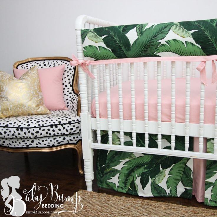 Tropical baby bedding meets daring dalmation fabric. Palm Leaf Print & Blush Pink Baby Girl Crib Bedding Set