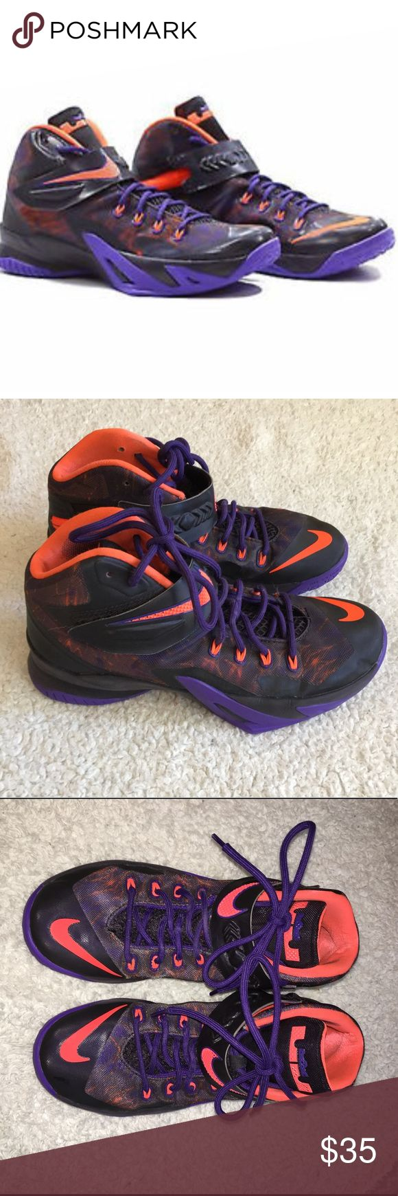 Nike Lebron Soldiers 8 Basketball Shoes Men's Sz8 Lebron Soldiers 8. Size 8 men's. Black, purple and orange. Basketball shoes. Worn only indoor basketball courts. Good condition. Two small tears on right shoe. Shown in photo. Nike Shoes Athletic Shoes