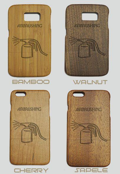 Airbrushing Engraved Wood Phone Case