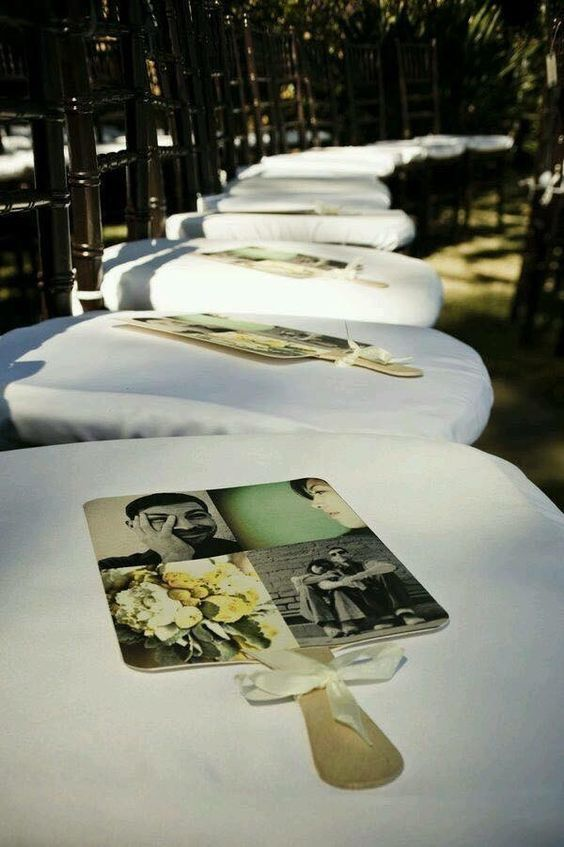 fans for guests at outdoor wedding. Such a great idea