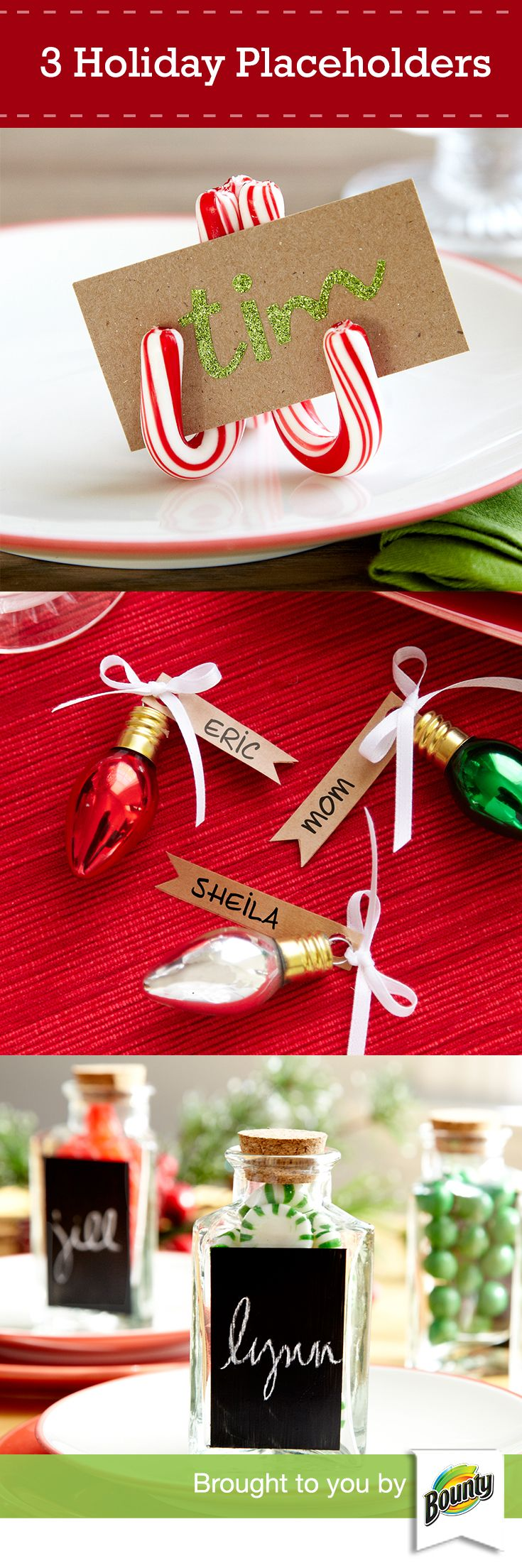 Try these 3 simple but thoughtful ideas to impress guests at your next dinner party. Create a cheerful holiday atmosphere with custom place settings using mini candy canes, personalized ornaments or chalkboard paint jars.