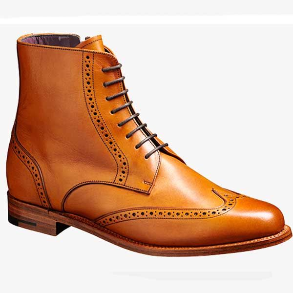 Barker Ladies Shoes – Faye Brogue Boots – Cedar Calf. A stylish lace up boot