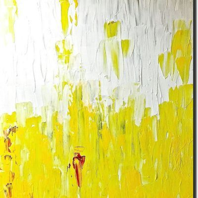LANDSCAPE painting GRAY WHITE YELLOW artwork PALETTE KNIFE Gallery artwork ready to hang painting Gallery artwork Handmade art Original painting Extra Large wall art gift for Her Him Birthday anniversery gift Room decor Wall decor Home Interior Decor by PooviArtGallery