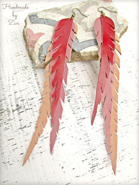 Pendientes Super Largos Cuero Plumas, Pendientes Cuero, Pendientes Plumas Largos, Pendientes Rojos, Pendientes Tricolor, Pendientes Pendientes