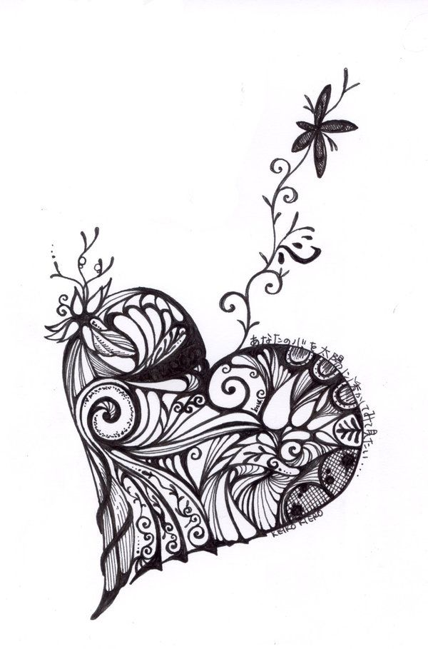 675 Best Images About Art Zentangle Heart On Pinterest