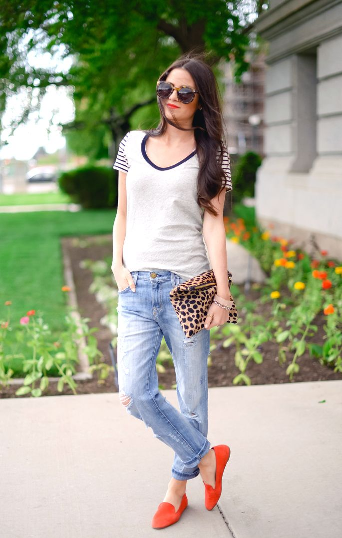 J Crew tee and shoes, Current Elliot jeans, Clare Vivier clutch