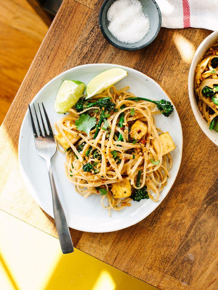 Thai Erdnuss Rühren braten, mit Tofu + broccolini