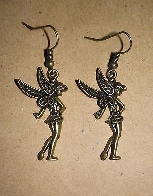 Tinkerbell-fairy-flying-fairies-Disney-Peter-Pan-bronze-dangle-earrings for sale