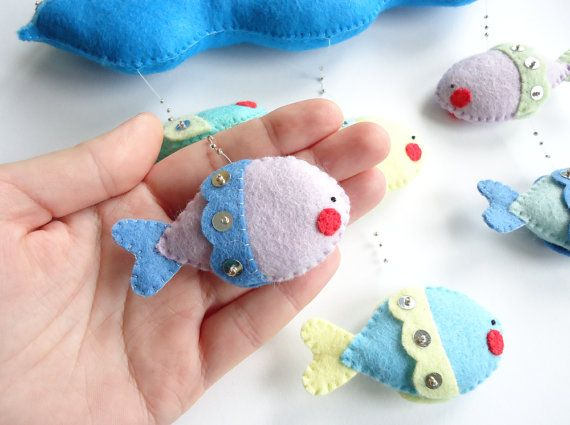 PDF pattern  Nautical mobile. Felt mobile with boat sea and