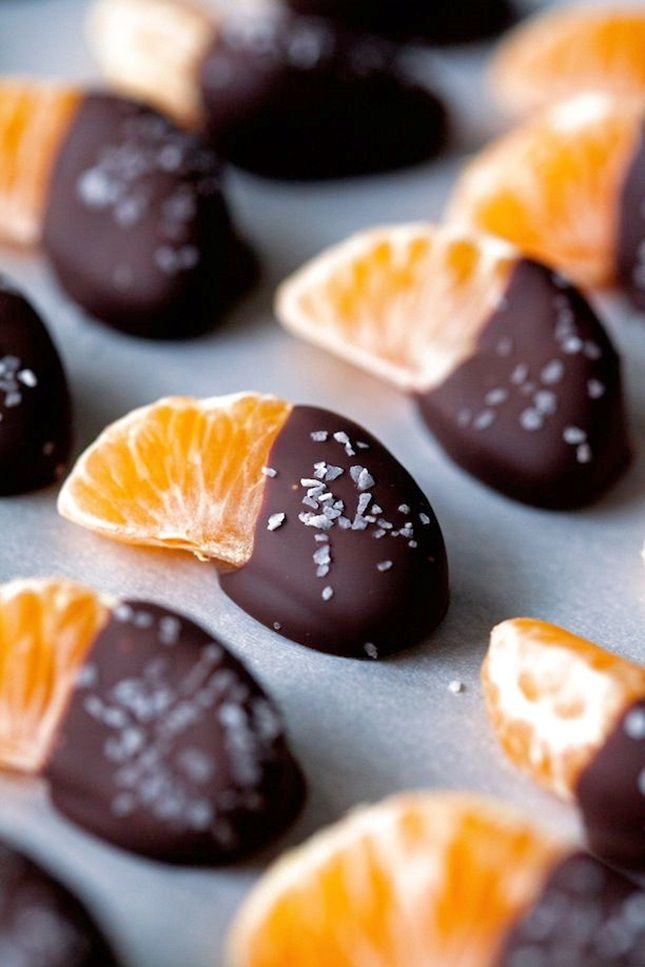 Salted Chocolate-Dipped Mandarin Orange Slices. NOM.