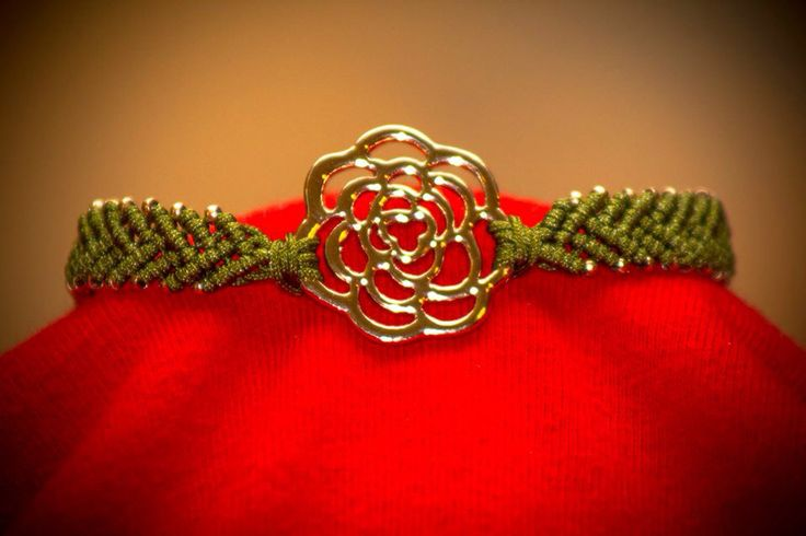 Macrame bracelet with flower detail by CrochetGrace! Find it at Etsy.com